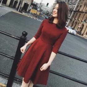 韓国大人気ゆったり着れるAライン膝丈ワンピース 暖かい 着痩せ 秋冬イチオシ商品