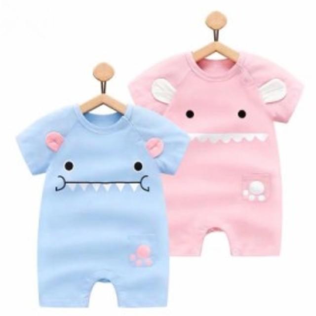 ロンパース ベビー 赤ちゃん 女の子 男の子 アニマル 耳付き 半袖 かわいい ベビー用品 出産祝い プレゼント ベビー服