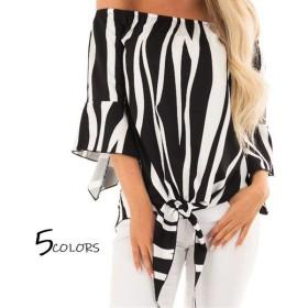 シャツ オフショルダー 半袖 フリル レディースファッション 女性 服 キレイ セクシー オシャレ 柄 可愛い キュート 夏