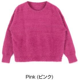 ティティベイト titivate フェザーヤーンショート丈ニットプルオーバー (ピンク)