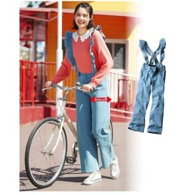 パンツ 大きいサイズ レディース サスペンダー付 ストレッチ デニム ワイド ゆったり ヒップ  ウエスト73〜122cm ニッセン
