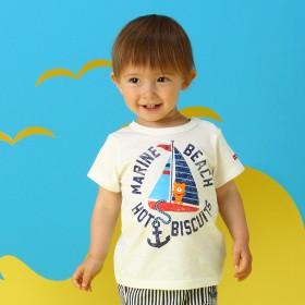 ミキハウス 【アウトレット】ヨット&イカリかすれプリント半袖Tシャツ 白