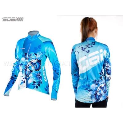 SOOMOM 幻影 女薄長袖車衣-反光條 自行車 水藍