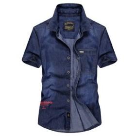 カジュアルシャツ メンズ 半袖 ミリタリー系 ワークシャツ 英文字 プリント マーク付き 夏物 大きいサイズ
