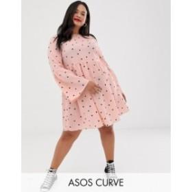 エイソス レディース ワンピース トップス ASOS DESIGN Curve fluted sleeve smock mini dress in spot Pink/black spot