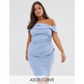 エイソス レディース ワンピース トップス ASOS DESIGN Curve off shoulder textured midi dress Blue