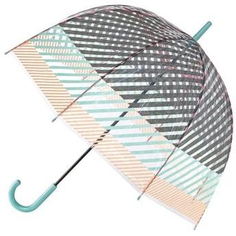 傘 ハッピークリアドームアンブレラ ストライプ ビニール ドーム型 長傘 ( カサ かさ 雨傘 アンブレラ )