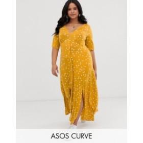 エイソス レディース ワンピース トップス ASOS DESIGN Curve button through maxi tea dress with splits in polka dot  Mustard spot