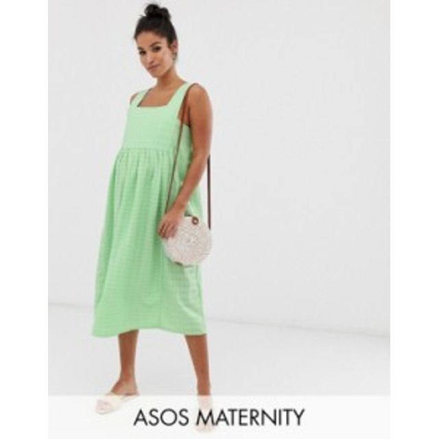 エイソス レディース ワンピース トップス ASOS DESIGN Maternity square neck textured midi smock sundress Green