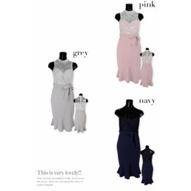 【Tika ティカ】 レース切り替えウエストリボンミディアムタイトドレス[S/M/L][グレー/ピンク/ネイビー]