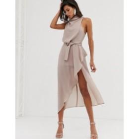 エイソス レディース ワンピース トップス ASOS DESIGN drape neck midi dress in textured fabric with self belt Neutral