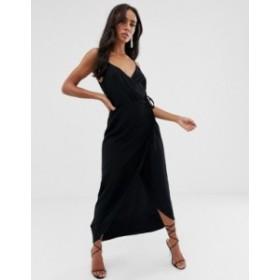 エイソス レディース ワンピース トップス ASOS DESIGN cami wrap maxi dress Black