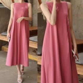 ノースリーブワンピース 無地 ロングワンピ プチプラ 普段使い 韓国ファッション
