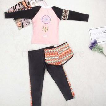 人気 長袖 水着 女の子 3点セットラッシュガード キッズ 子供 プール スイミング ビーチ 赤ちゃん スクール 海 夏 韓国子供服