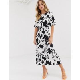 エイソス レディース ワンピース トップス ASOS DESIGN ruched skirt midi dress in cow print Cow animal print