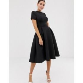 エイソス レディース ワンピース トップス ASOS DESIGN T-Shirt open back prom midi dress Black
