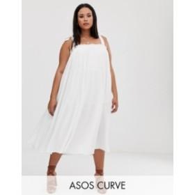 エイソス レディース ワンピース トップス ASOS DESIGN Curve pleated midi sundress with tie straps Ivory