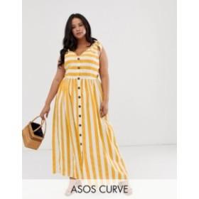 エイソス レディース ワンピース トップス ASOS DESIGN Curve button through smock maxi dress in stripe Stripe