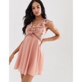 エイソス レディース ワンピース トップス ASOS DESIGN mini dress with lace trim detail and embroidery Soft blush