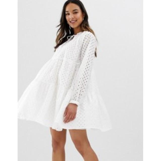 エイソス レディース ワンピース トップス ASOS DESIGN Maternity tiered trapeze mini dress in broderie White