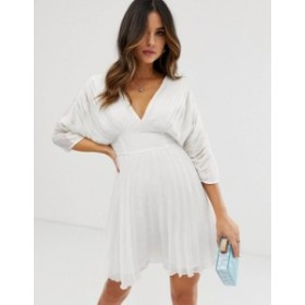 エイソス レディース ワンピース トップス ASOS DESIGN pleated mini dress with batwing sleeves White