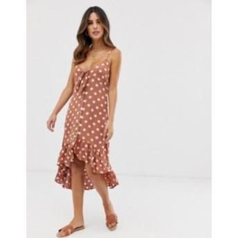 リバーアイランド レディース ワンピース トップス River Island beach midi dress with tie front in polka dot Brown spot