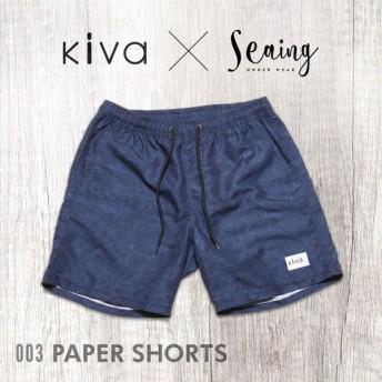 【メール便(30)】 (キヴァ)kiva × seaing paper SHORTS 水着 ボードショーツ ボトムス メンズ ハーフパンツ M L