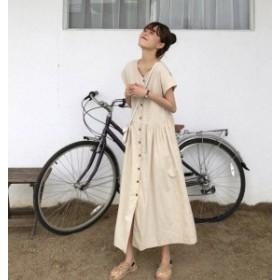 韓国 ファッション レディース ワンピース ロング シャツワンピ Vネック ゆったり オルチャン 半袖 無地 大人可愛い カジュアル シンプル