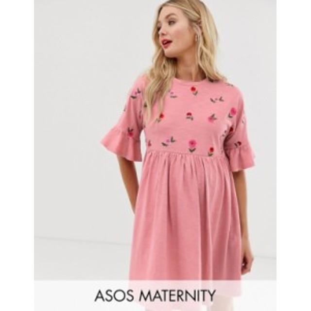 エイソス レディース ワンピース トップス ASOS DESIGN Maternity floral embroidered frill sleeve smock dress Rose