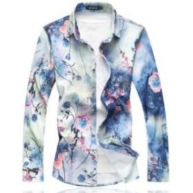 長袖シャツ メンズ 原宿風 トップス 大きいサイズ  カジュアル 花柄シャツ プリント フラワー アロハ クリンクル M~7XL