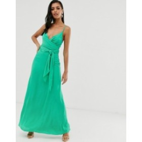 エイソス レディース ワンピース トップス ASOS DESIGN cami wrap maxi dress with tie waist Emerald green