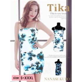 【Tika ティカ】 薔薇柄プリントタイトミニドレス[S/M/L/XL/XXL/4L][黒/白]