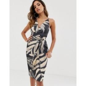 エイソス レディース ワンピース トップス ASOS DESIGN midi dress with wrap waist in satin in tropical print Tropical print