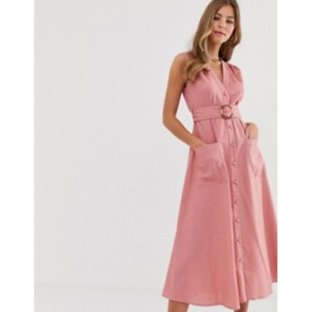 エイソス レディース ワンピース トップス ASOS DESIGN linen button through midi dress with belt Dark pink