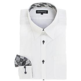【semantic design:トップス】形態安定スリムフィット レギュラーカラー長袖ビジネスドレスシャツ