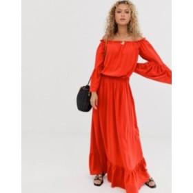 エイソス レディース ワンピース トップス ASOS DESIGN off shoulder maxi dress in crinkle Red