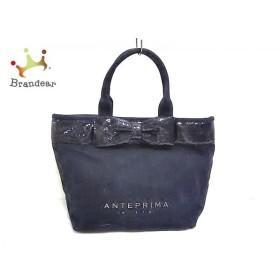 アンテプリマミスト ANTEPRIMA MISTO トートバッグ 黒 リボン/スパンコール キャンバス   スペシャル特価 20190921
