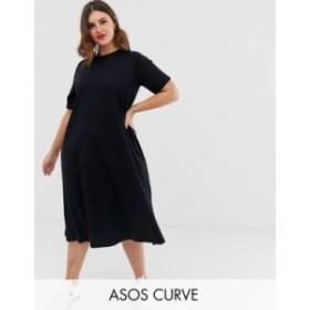 エイソス レディース ワンピース トップス ASOS DESIGN Curve super oversize midi swing t-shirt dress Black