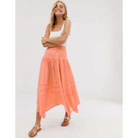 エイソス レディース スカート ボトムス ASOS DESIGN asymmetric pirate high low city maxi skirt Washed orange