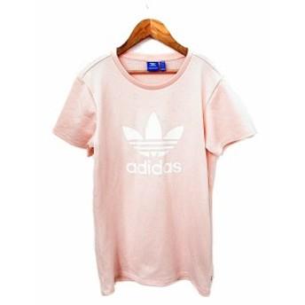 【中古】アディダス adidas ワンピース 半袖 ミニ ロゴ M ピンク /AKK25 レディース