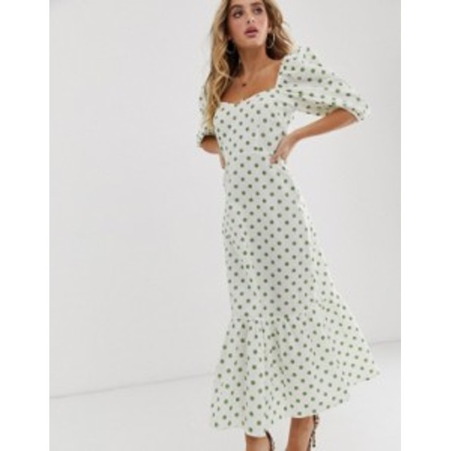 エイソス レディース ワンピース トップス ASOS DESIGN sweetheart neck tiered midi dress in polka dot Polka dot