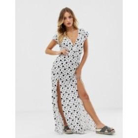 エイソス レディース ワンピース トップス ASOS DESIGN plunge neck jersey beach maxi dress with splits in mono polka dot  Mono spot