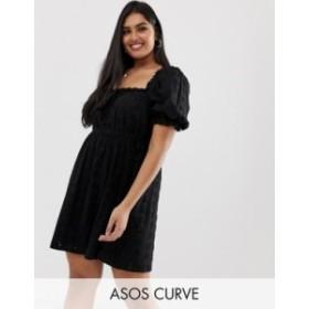エイソス レディース ワンピース トップス ASOS DESIGN Curve prairie broderie mini dress Black