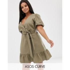 エイソス レディース ワンピース トップス ASOS DESIGN Curve wrap mini dress with tie front Khaki