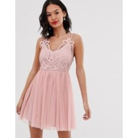 エイソス レディース ワンピース トップス ASOS DESIGN Premium lace top tulle cami mini dress Blush
