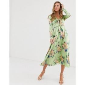 エイソス レディース ワンピース トップス ASOS DESIGN tie front midi dress in vintage floral print Green based floral