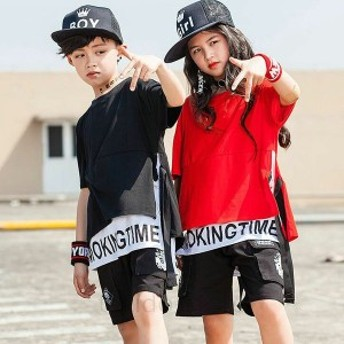 ダンス衣装 トップス ガールズ 赤 黒 ヒップホップ 衣装 キッズ ダンス衣装 セットアップ 韓国 子供服 ヒップホップ ダンスウェア 子供