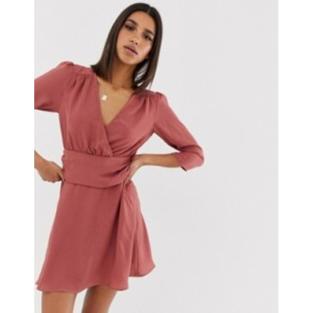 エイソス レディース ワンピース トップス ASOS DESIGN wrap mini dress with ruched waist Washed pink