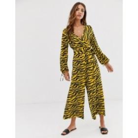 エイソス レディース ワンピース トップス ASOS DESIGN wrap jumpsuit in animal print Yellow zebra