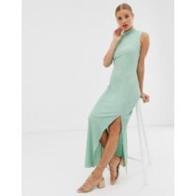 エイソス レディース ワンピース トップス ASOS DESIGN sleeveless high neck plisse maxi dress Mint